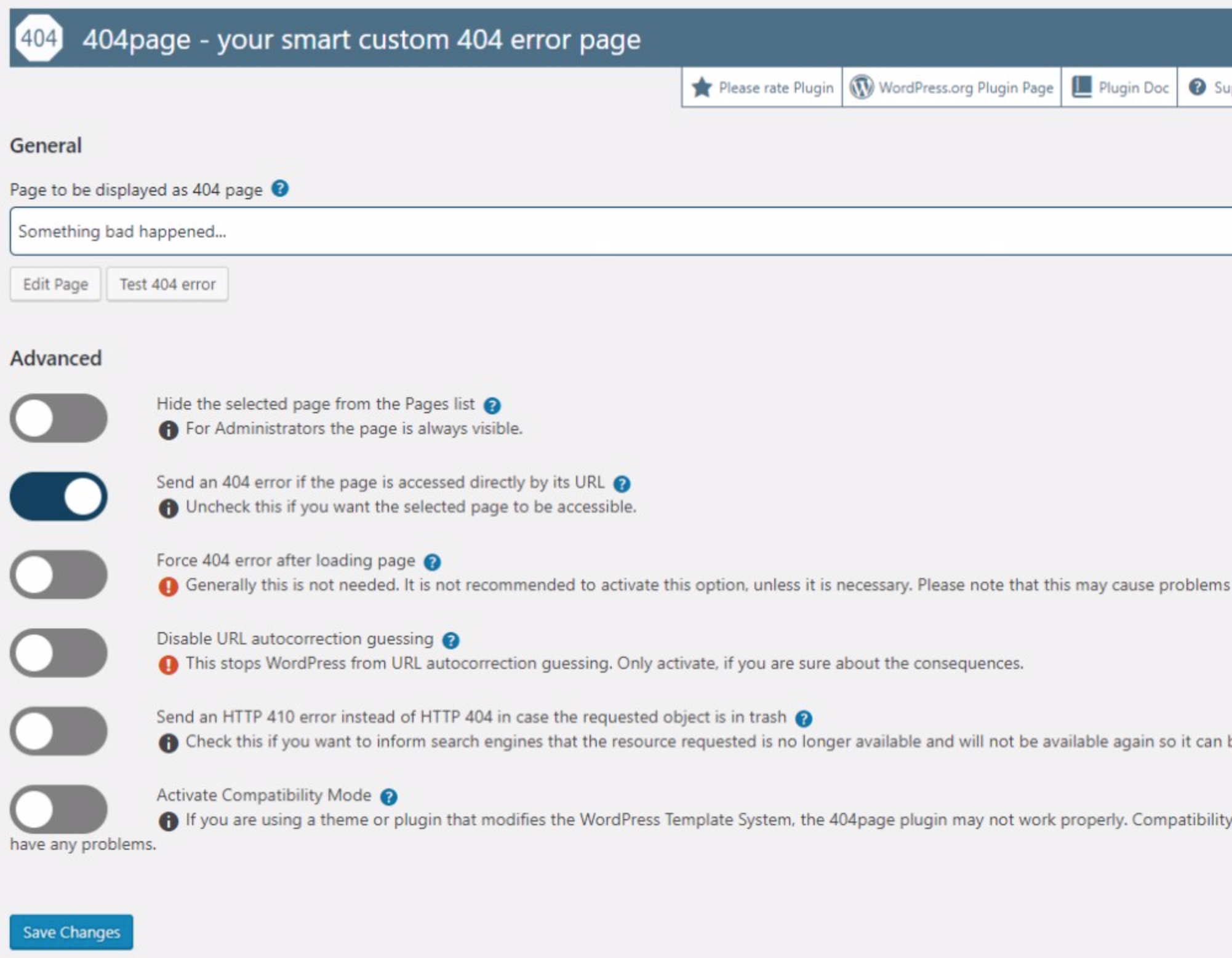 404page WordPress Plugin Settings